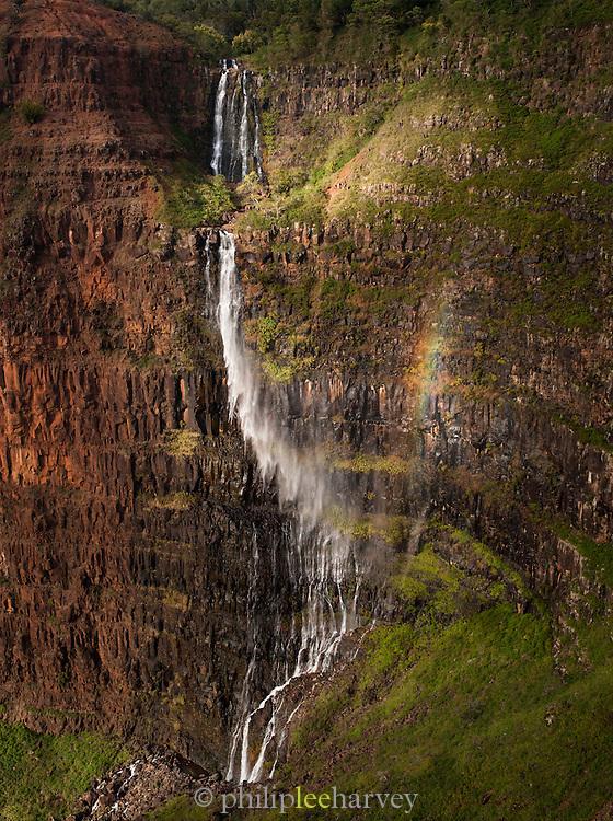Waterfall in Waimea Canyon State Park, Kaua'i, Hawai'i