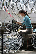 Chinese workers build bicycles in the Flying Pigeon bicycle factory in Tianjin, China. At the forefront of the whole bicycle phenomenon in China is the trusty Flying Pigeon. Of all the bicycle logos in China today, the silhouette of a pigeon resting on the two letters FP is probably the best-known. The Flying Pigeon was the brainchild of a worker named Huo Baoji who presented his carefully crafted bike on July 5, 1950. The name Feige (literally 'flying dove') was originally chosen as an expression for peace amidst the raging war in Korea. However, the Chinese word gezi can be translated as either dove or pigeon.