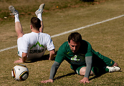 Jernej Suhadolnik vs Ales Zavrl of NZS during the friendly match between Slovenian football journalists and officials of Slovenian football federation at  Hyde Park High School Stadium on June 16, 2010 in Johannesburg, South Africa.  (Photo by Vid Ponikvar / Sportida)