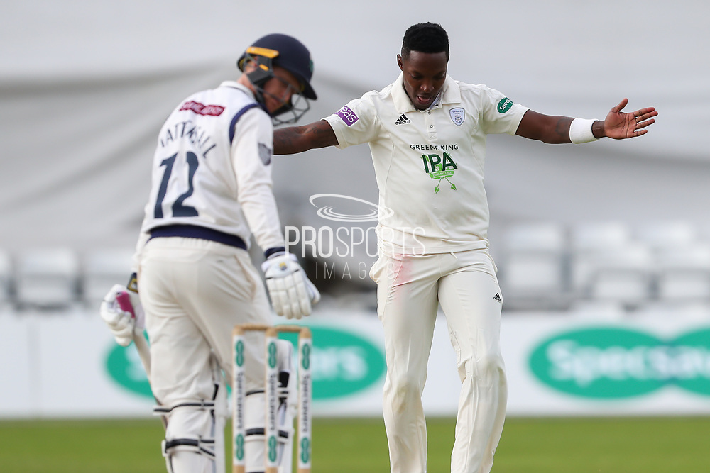 Wicket! Fidel Edwards of Hampshire celebrates after taking the wicket of Jonathan Tattersall of Yorkshire during the opening day of the Specsavers County Champ Div 1 match between Yorkshire County Cricket Club and Hampshire County Cricket Club at Headingley Stadium, Headingley, United Kingdom on 27 May 2019.