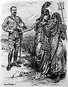 Britannia, holding her trident, introduces Lord Kitchener to a modestly veiled India. Horatio Herbert Kitchener (1850-1916) served as Commander-in-Chief, India 1902-1909. Bernard Partridge cartoon from 'Punch',  London, 16 June 1902.