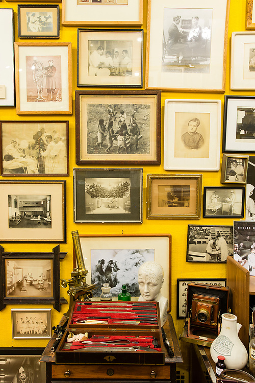 Photographs of medical subjects on the wall at the Burns Archive.