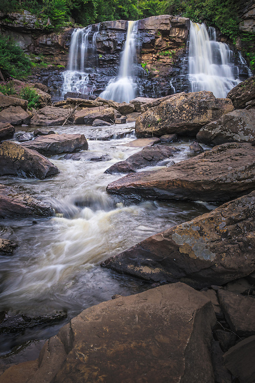 West Virginia's Blackwater Falls attracts close to a million visitors annually, making it one of the most photographed places in the state, but few of them will have viewed it from this angle shot at river level downstream of the falls.