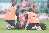 Rugby Union - 2019 / 2020 Gallagher Premiership - Northampton Saints v Sale Sharks - Franklin Gardens<br /> <br /> Sale Sharks' Manu Tuilagi receiving medical attention during the game before going off injured in the first half.<br /> <br /> COLORSPORT/ASHLEY WESTERN