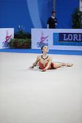 Hayakawa Sakura during qualifying at hoop in Pesaro World Cup 26 April 2013. Sakura is a Japan rhythmic gymnastics athlete born March 17, 1997 in Osaka, Japan. She appeared in Senior competitions in the 2013 season.