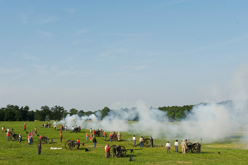 An array of canons open fire during the 149th Gettysburg Reenactment in Gettysburg, Pennsylvania.