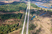 Image from a flight over Sauk County, Wisconsin and the Interstate Highway on a beautiful autumn day.