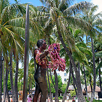 Statue of legendary surfer Duke Kahanamoku at Waikiki Beach in Honolulu, Hawaii.