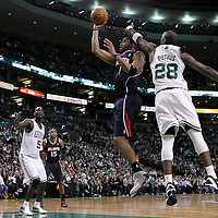10 May 2012: Atlanta Hawks small forward Tracy McGrady (1) takes a jumpshot past Boston Celtics small forward Mickael Pietrus (28) during the Boston Celtics 83-80 victory over the Atlanta Hawks, in Game 6 of the Eastern Conference first-round playoff series, at the TD Banknorth Garden, Boston, Massachusetts, USA.