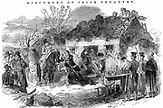 Potato Famine: Irish peasant family unable to pay rent because of failure of potato crop due toPotato  Blight (Phytophthora infestans),  evicted from their tumbledown cottage. From 'The Illustrated London News' December 1848.  Wood engraving