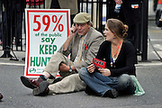 London, England, 15/09/2004..An estimated 20,000 hunt supporters demonstrate in Parliament Square as a new bill to ban hunting with dogs is passed. Some demonstrators fought with riot police, and five hunt supporters managed to get onto the House of Commons floor during the debate..Demonstrators block the roads around Parliament.
