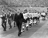 BILL NICHOLSON, TOTTENHAM MANAGER, LEADS OUT HIS TEAM. FA CUP FINAL 1961. TOTTENHAM V LEICESTER CITY.<br />  Credit: COLORSPORT/Digitalsport