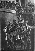 Explorers going down the pit shaft at Seaham Colliery, County Durham, England to begin rescue operations after the disaster of September 1880. Engraving c1895.