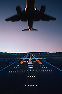 Airplane above Runway