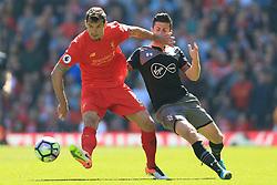 7th May 2017 - Premier League - Liverpool v Southampton - Dejan Lovren of Liverpool battles with Shane Long of Southampton - Photo: Simon Stacpoole / Offside.