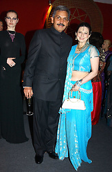 """MR SHIRISH APTE and his wife SAVITA at the 10th annual British Red Cross London Ball.  This years ball theme was Indian based - """"Yaksha - Yakshi: Doorkeepers to the Divine"""" and was held at The Room, Upper Ground, London on 1st December 2004.  Proceeds from the ball will aid vital humanitarian work, including HIV/AIDS projects that the Red Cross supports in the UK and overseas.<br /><br />NON EXCLUSIVE - WORLD RIGHTS"""