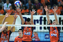 Angel Perez, Alen Pajenk and Andrej Flajs of ACH at last final volleyball match between OK ACH Volley and Salonit Anhovo, on April 21, 2009, in Arena SGS Radovljica, Slovenia. ACH Volley won the match 3:0 and became Slovenian Champion. (Photo by Vid Ponikvar / Sportida)