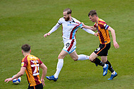 Scunthorpe United Kevin van Veen (10) Bradford City Paudie O'Connor (4) battles for possession during the EFL Sky Bet League 2 match between Bradford City and Scunthorpe United at the Utilita Energy Stadium, Bradford, England on 1 May 2021.