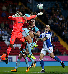 David Raya of Blackburn Rovers challenges Ashley Barnes of Burnley - Mandatory by-line: Matt McNulty/JMP - 23/08/2017 - FOOTBALL - Ewood Park - Blackburn, England - Blackburn Rovers v Burnley - Carabao Cup - Second Round