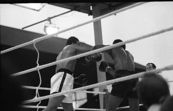 Ali vs Lewis Fight, Croke Park,Dublin..1972..19.07.1972..07.19.1972..19th July 1972..As part of his built up for a World Championship attempt against the current champion, 'Smokin' Joe Frazier,Muhammad Ali fought Al 'Blue' Lewis at Croke Park,Dublin,Ireland. Muhammad Ali won the fight with a TKO when the fight was stopped in the eleventh round...Both boxers throw wild swinging punches.