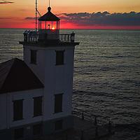 The Oswego West Pier Lighthouse in Oswego, New York July 28, 2020.