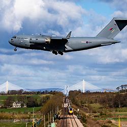 RAF Boeing C-17 at Edinburgh airport
