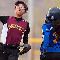 042613       Cable Hoover<br /> <br /> Rehoboth Lynx Katie Holtsoi (5) tries for a double play after tagging a Zuni Thunderbird runner out at second Thursday at Ford Canyon Park.