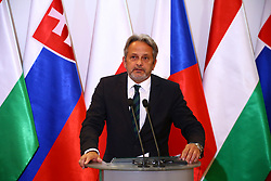 July 13, 2017 - Warsaw, Poland - Visegrad Group V4 Miniters of Defence held official meeting. Polish Minister Antoni Macierwicz received Hungarian Minister Istvan Simicsko, Slovakian Minister Peter Gajdos and Czech Minister Martin Stropnicky in Warsaw. The Presidency of the V4 was officially handed over to Hungary. (Credit Image: © Jakob Ratz/Pacific Press via ZUMA Wire)