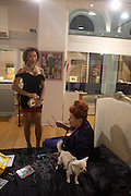IMANNI DA SILVA; LADY SANDRA BATES; ANGEL, Lady  Sandra Bates and Jason Bradbury host 'Lust' a mixed exhibition. La Galleria. Pall Mall.  London 3 September 2013.
