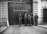 Chieftains at Guinness Brewery, Dublin..1983-02-21.21st February 1983.21/02/1983.02-21-83 ..Pictured at Guinness Brewery, St James's Gate, Dublin..Chieftains stand outside the Guiinness Brewery