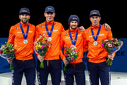 13-01-2019 NED: ISU European Short Track Championships 2019 day 3, Dordrecht<br /> Team Netherlands (Daan Breeuwsma, Jasper Brunsmann, Itzhak de Laat en Dennis Visser ) pose in the Men's Relay medal ceremony during the ISU European Short Track Speed Skating Championships.