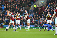 George Boyd of Burnley (c) complains when a free kick was given against him. Premier league match, Burnley v Chelsea at Turf Moor in Burnley, Lancs on Sunday 12th February 2017.<br /> pic by Chris Stading, Andrew Orchard Sports Photography.