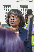 London, United Kingdom, July 17, 2021: Labour member of Parliament Dianne Abbott addresses protestors during Stand Up to Racism protest outside Downing Street in central London on Saturday, July 17, 2021. The protest is organised in solidarity with England players Marcus Rashford, Jadon Sancho and Bukayo Saka who were subject of racist hate crimes in Britain following the defeat of England in the Euro 2020 finals from Italy. (VX Photo/ Vudi Xhymshiti)