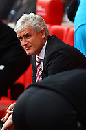 Stoke City Manager Mark Hughes looks on prior to kick off. Barclays Premier League match, Stoke city v West Bromwich Albion at the Britannia stadium in Stoke on Trent, Staffs on Saturday 29th August 2015.<br /> pic by Chris Stading, Andrew Orchard sports photography.