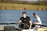 Eton, GREAT BRITAIN,  Tom BROADWAY (bow), and Greg SEARLE (stroke), M2-, wait at the Start, GB Trials 3rd Winter assessment at,  Eton Rowing Centre, venue for the 2012 Olympic Rowing Regatta, Trials cut short due to weather conditions forecast for the second day Sunday  13/02/2011   [Photo, Karon Phillips/Intersport-images]