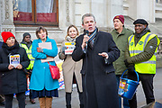Mark Serwotka PCS General Secretary speaking to workers of Interserve, the cleaning contractors for the Foreign and Commonwealth Office FCO who are striking for better working conditions and union recognition on the 11th of February 2020 in Westminster, London, United Kingdom.