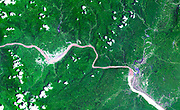 60 km stretch of the Yangtze River in China, including the Xiling Gorge. July 20, 2000. Satellite image.