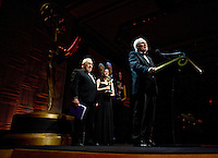 """Professor Markus Schächter receives """"The Directorate Award"""" as Henry Kissinger looks-on at the 2009 International Emmy Awards Gala hosted by the International Academy of Television Arts & Sciences in New York.  ***EXCLUSIVE***."""