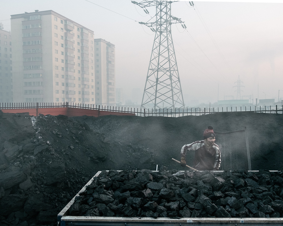 A local street coal seller in Bayankhoshuu, one of the worst polluted neighborhood of Ulan Bator.