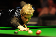 Neil Robertson of Australia during his match against Mark Williams of Wales. Bet Victor Welsh open snooker at the Newport centre in Newport, South Wales on Wed 26th Feb 2014.<br /> pic by Andrew Orchard, Andrew Orchard sports photography.