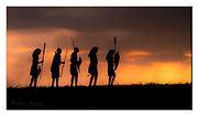 Maasai warriers against the setting sun.  Nikon D5, 70-200mm @ 125mm, f3.5, EV-0.33, 1/1600sec, ISO400, Aperture priority