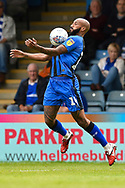 Gillingham FC forward Tom Eaves (9) chests down the ball during the EFL Sky Bet League 1 match between Gillingham and Coventry City at the MEMS Priestfield Stadium, Gillingham, England on 25 August 2018.