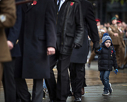 © Licensed to London News Pictures . 11/11/2018. Manchester , UK . 1000s of people attend a service of remembrance for those killed in war at the Manchester Cenotaph in St Peter's Square , on the 100th anniversary of Armistice Day , marking the end of the First World War . Photo credit : Joel Goodman/LNP