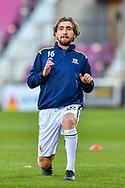 Nathan Gilhooly (#16) of Alloa Athletic FC during the warm up before the SPFL Championship match between Heart of Midlothian FC and Alloa Athletic FC at Tynecastle Park, Edinburgh, Scotland on 9 April 2021.