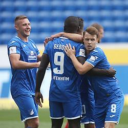 Torjubel des Torschützen Ihlas Bebou (TSG 1899 Hoffenheim), Jubel und Freude bei Pavel Kaderabek und Dennis Geiger (TSG 1899 Hoffenheim)<br /> <br /> Sport: Fussball: Bundesliga: Saison 19/20: TSG 1899 Hoffenheim-1.FC Union Berlin, 20.06.2020.<br /> <br /> Foto: RALF POLLER/AVANTI/POOL/PIX-Sportfotos<br /> <br /> Nur für journalistische Zwecke! Only for editorial use! <br /> Gemäß den Vorgaben der DFL Deutsche Fußball Liga ist es untersagt, in dem Stadion und/oder vom Spiel angefertigte Fotoaufnahmen in Form von Sequenzbildern und/oder videoähnlichen Fotostrecken zu verwerten bzw. verwerten zu lassen. DFL regulations prohibit any use of photographs as image sequences and/or quasi-video.