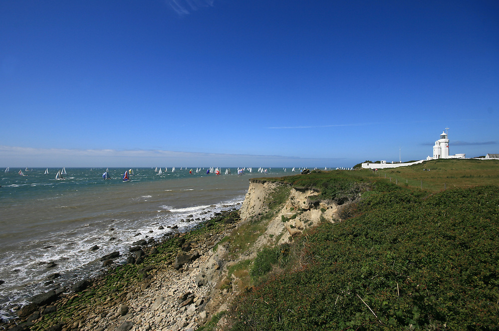 Round the Island race at St Catherines Lighthouse, Isle of Wight