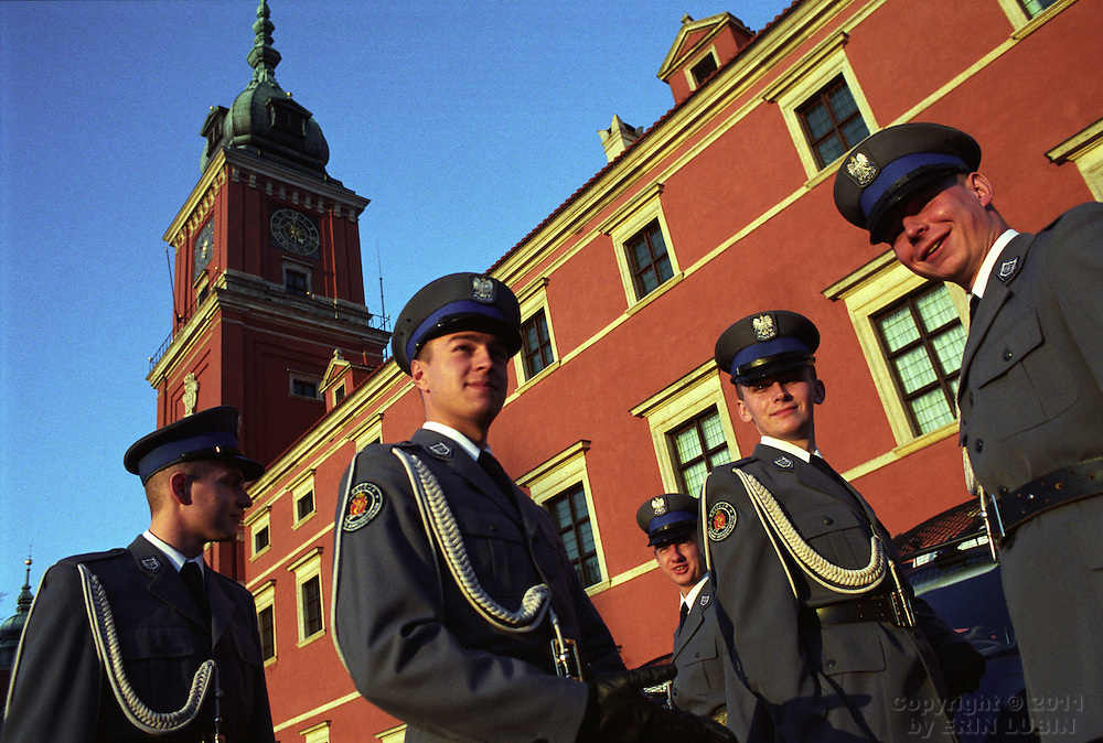 Police officers in Old Town Warsaw, Poland.