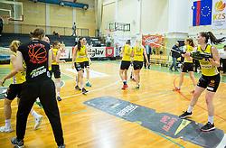 Players of Athlete Celje celebrate after winning during basketball match between ZKK Athlete Celje and ZKK Triglav in Finals of 1. SKL for Women 2014/15, on April 20, 2015 in Gimnazija Celje Center, Celje, Slovenia. ZKK Athlete Celje became Slovenian National Champion 2015. Photo by Vid Ponikvar / Sportida