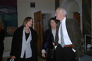 Anna Ford, Claire Tomalin and Michael Frayn. Everyman's Centenary Party. The Fine Rooms. Royal Academy. London. 15 February 2006. dddONE TIME USE ONLY - DO NOT ARCHIVE  © Copyright Photograph by Dafydd Jones 66 Stockwell Park Rd. London SW9 0DA Tel 020 7733 0108 www.dafjones.com