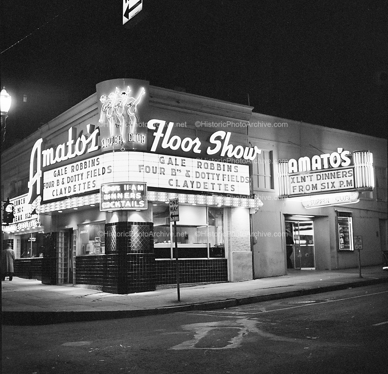 Y-580425-2.  Amato's Supper Club, 706 SW Main, southwest corner of Broadway & Main. April 25, 1958. The PCPA Portland Center for the Performing Arts is presently on the site.